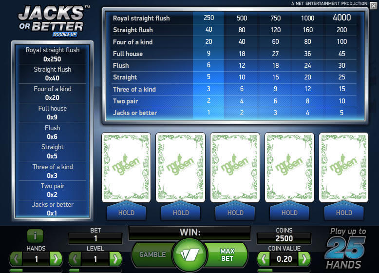 Video Poker Demo Game