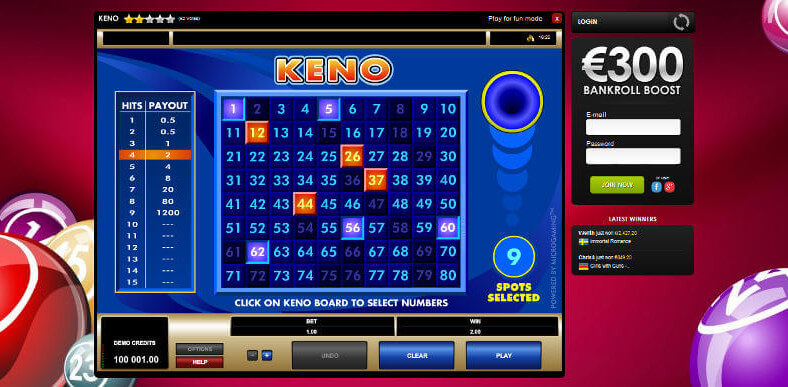 Free Online Keno and Real Money Casino Play